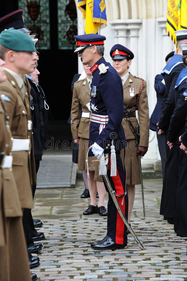 Lord Lieutenant of Hampshire inspecting a military parade stock photos