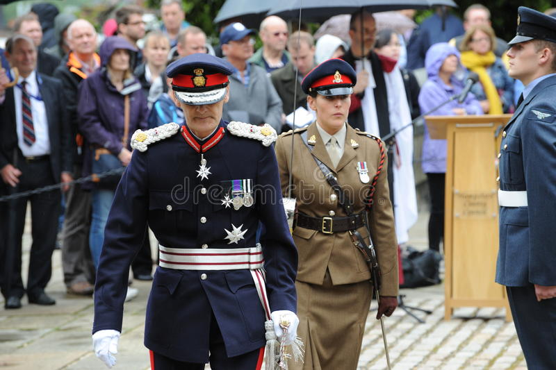 Lord Lieutenant of Hampshire inspecting a military parade stock photo