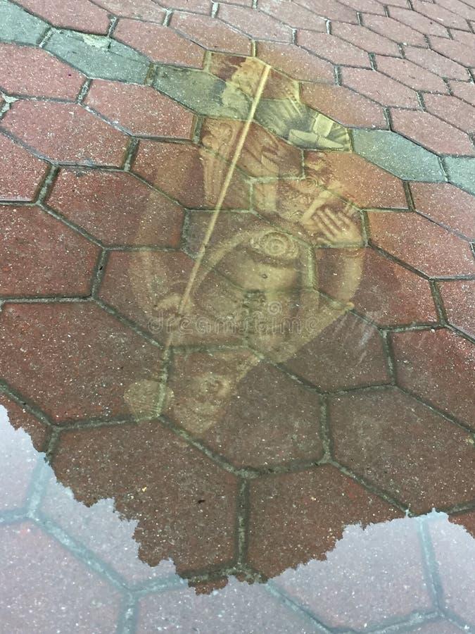 Lord Murugan Statue reflekterade i en pöl arkivfoto