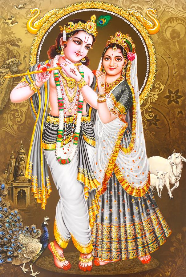 Lord Radha Krishna Beauece Wallpaper stock foto's