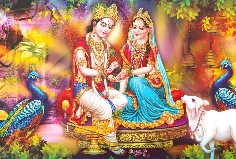 Lord Radha Krishna - Belo Wallpaper imagem de stock royalty free