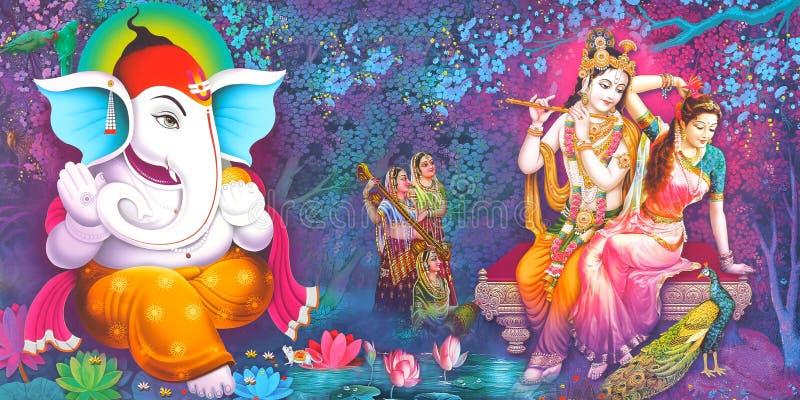 Lord Radha Krishna - Belo Wallpaper fotografia de stock royalty free