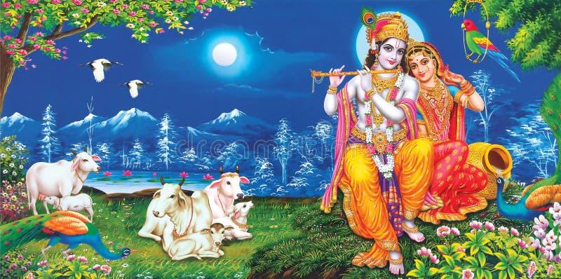 Lord Radha Krishna Linda wallpaper com fundo fotografia de stock royalty free