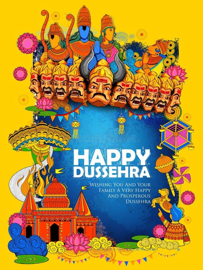 Lord Ram, Sita, Laxmana, Hanuman et Ravana dans le festival de Dussehra Navratri de l'affiche d'Inde illustration de vecteur