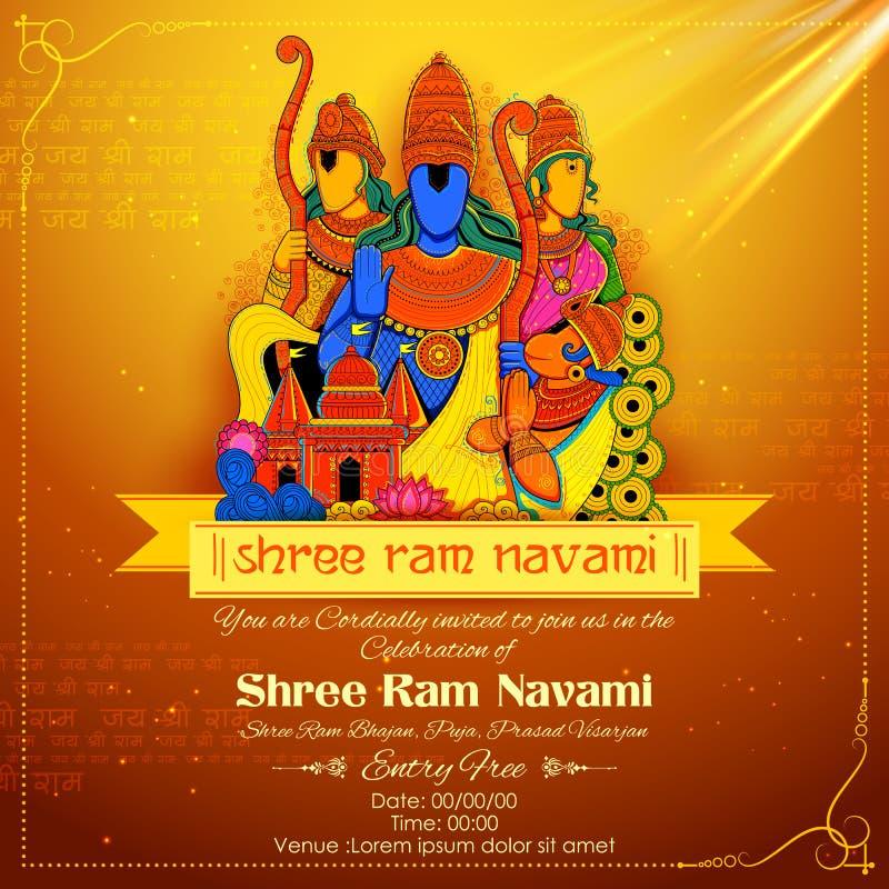 Lord Ram, Sita, Laxmana, Hanuman och Ravana i Ram Navami royaltyfri illustrationer