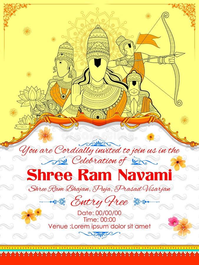 Lord Ram, Sita, Laxmana, Hanuman och Ravana i Ram Navami vektor illustrationer