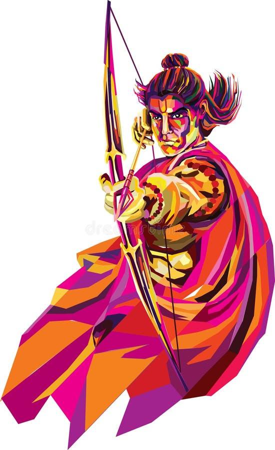 Lord Rama, hij s zevende avatar van de Hindoese god Vishnu, en een koning van Ayodhya in Hindoese scriptures vector illustratie