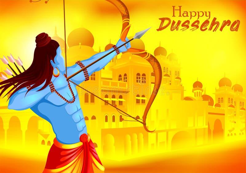 Lord Rama killing Ravana in Happy Dussehra festival of India royalty free illustration