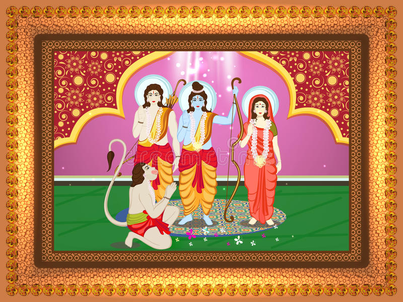 Lord Rama, Laxman And Goddess Sita For Dussehra. Stock Illustration ...