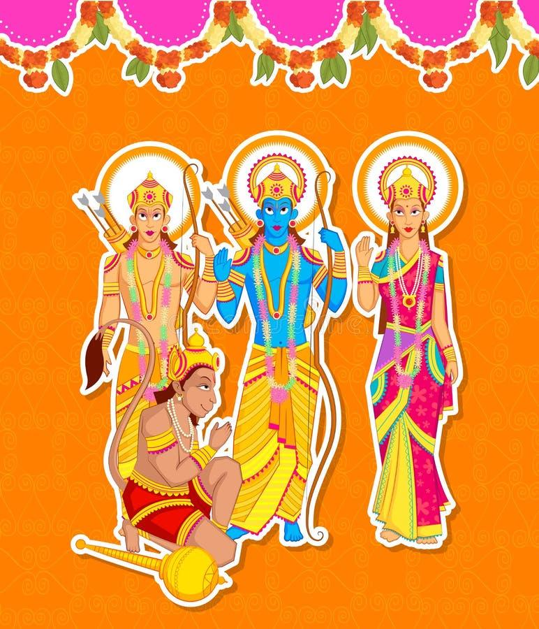 Lord Rama Laxmana, Sita med Hanuman vektor illustrationer