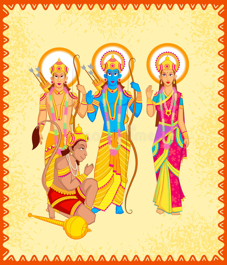 Lord Rama Laxmana, Sita med Hanuman royaltyfri illustrationer