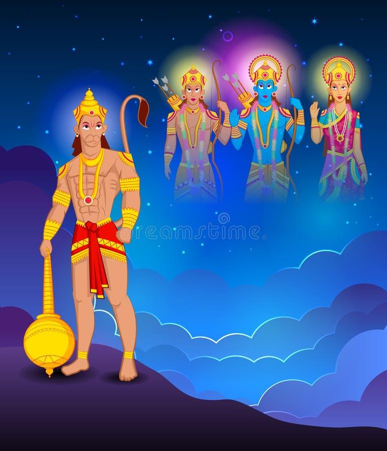 Lord Rama Laxmana, Sita med Hanuman stock illustrationer
