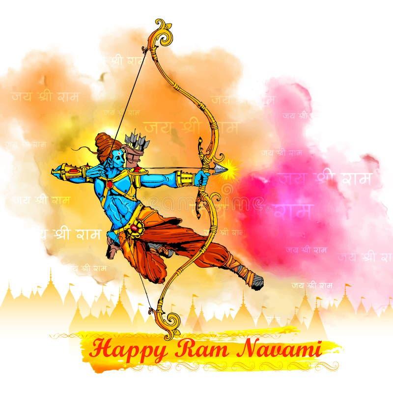 Lord Rama med pilbågepilen i Ram Navami royaltyfri illustrationer
