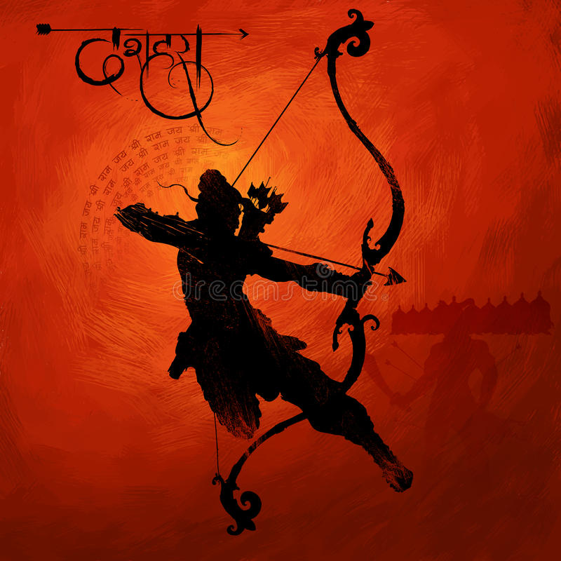 Lord Rama met pijl die Ravana in Navratri-festival die van de affiche van India met hinditekst doden Dussehra betekenen vector illustratie