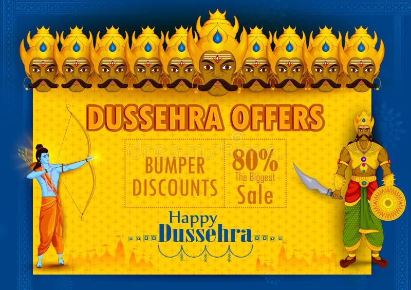 Lord Rama que mata Ravana durante o festival de Dussehra do fundo da propaganda da promoção de venda da Índia ilustração royalty free