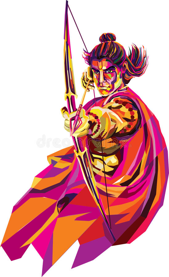 Lord Rama, He s the seventh avatar of the Hindu god Vishnu, and a king of Ayodhya in Hindu scriptures. vector illustration