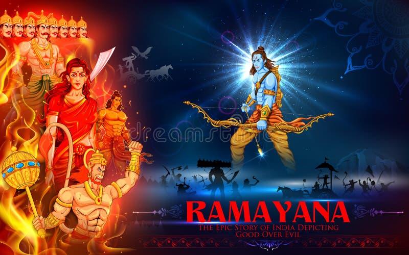 Lord Rama, Sita, Laxmana, Hanuman och Ravana i den Dussehra affischen royaltyfri illustrationer