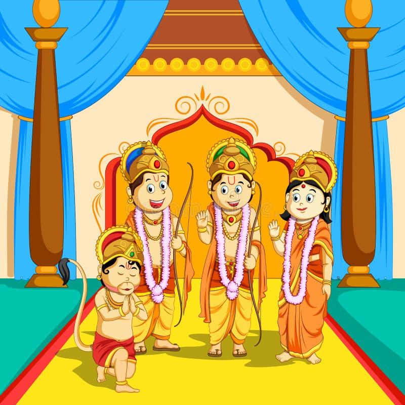 Lord Rama, Sita, Laxmana och Hanuman i den Dussehra affischen royaltyfri illustrationer