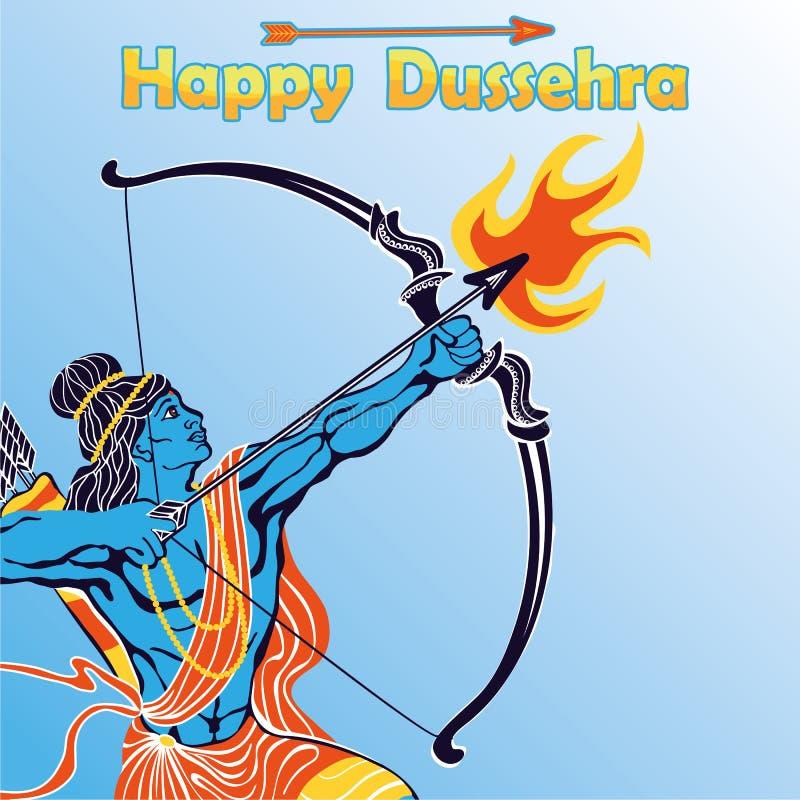 Lord Rama stående med pilbågepilen Lyckliga Dussehra vektor illustrationer