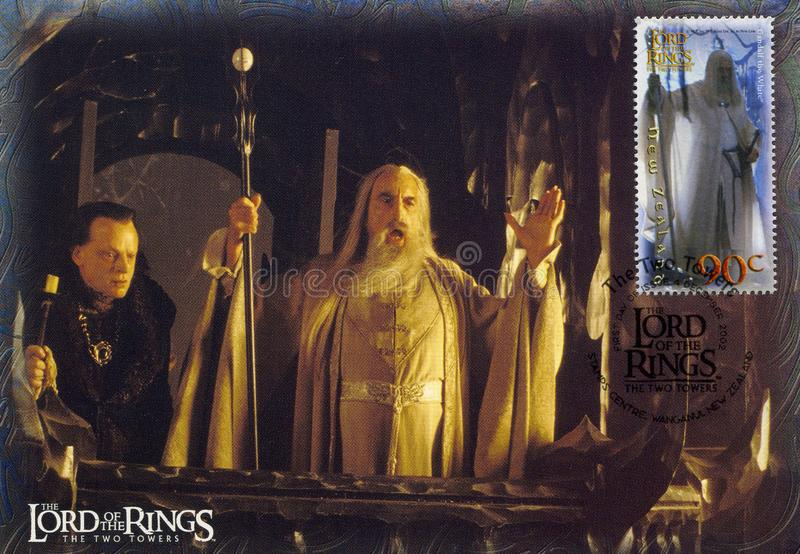 Lord of the Rings. NEW ZEALAND - CIRCA 2002: stamp printed by New Zealand, shows Scenes from The Lord of the Rings, circa 2002 royalty free stock image
