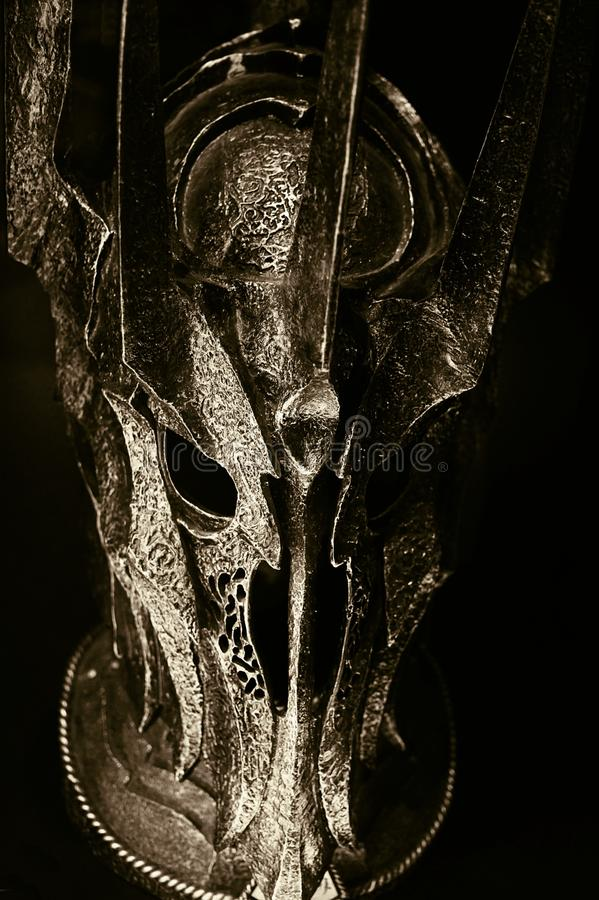Lord of the Rings. Sauron`s helmet, from the trilogy Lord of the Rings. In the Museum of Film Legends in Prague 30.3.2018 stock photos