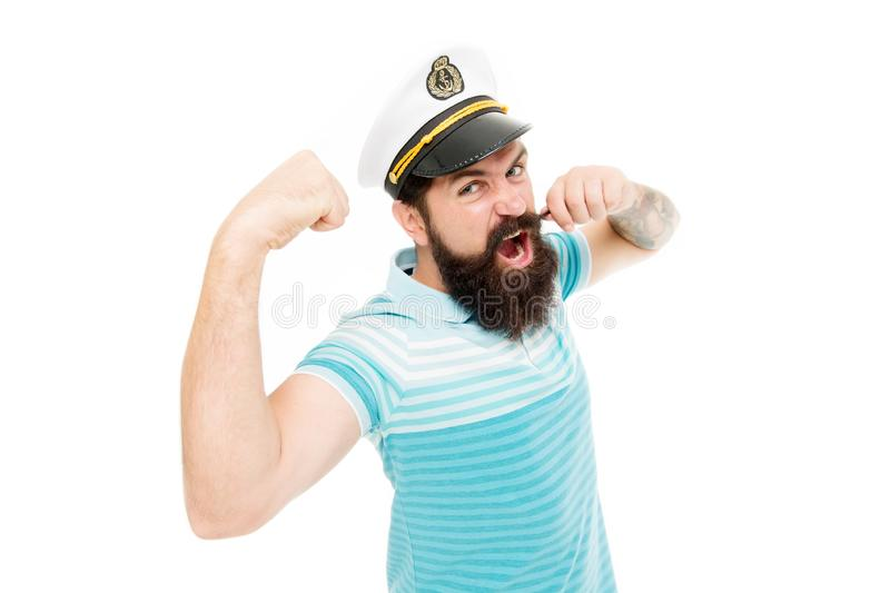 Lord of the seas. Travel concept. Summer vacation. Hipster beard mustache sailor hat. Captain cruise liner. Brutal royalty free stock photography