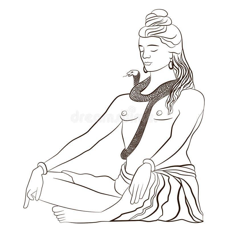 Lord Shiva en la meditación Tarjeta de felicitación para Maha Shivratri, un ejemplo del vector libre illustration