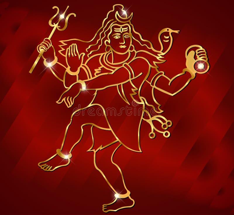 Lord Shiva för hinduisk gud på en mousserande röd bakgrund stock illustrationer
