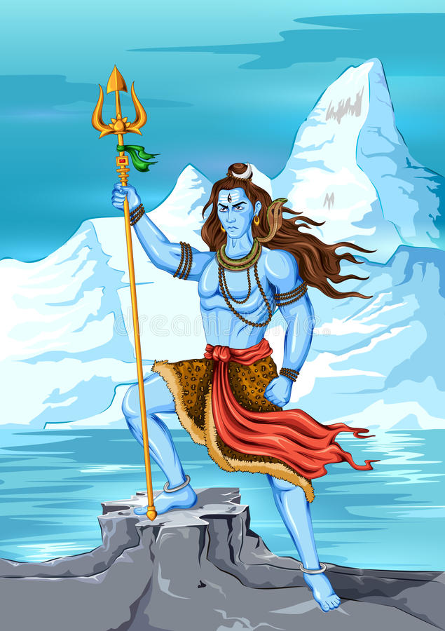 Lord Shiva Indian God van Hindoes royalty-vrije illustratie