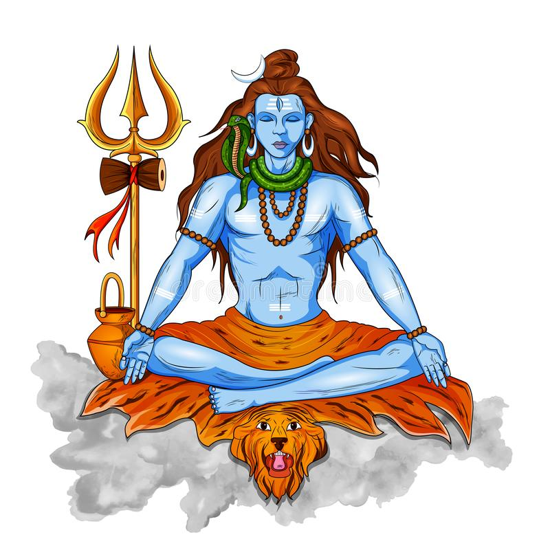 Lord Shiva indisk gud av hinduiskt för Shivratri med betydelse för meddelandeOm Namah Shivaya som jag bugar till Shiva royaltyfri illustrationer