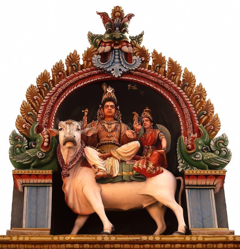 Lord Shiva met zijn vrouw Parvati stock foto