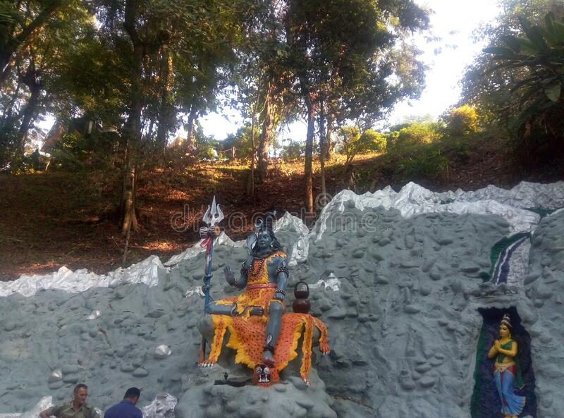 Lord Shiva Status at Agnigar Hill Tezpur, Assam India. Tourist detestation for foreign and local tourist. Natural butty Agni-gar  Hill at Tezpur, Assam, India royalty free stock photo