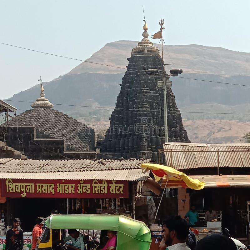 Lord Shiva Temple, Jyotirlinga Trimbakeshwar, Maharashtra, Índia fotografia de stock royalty free