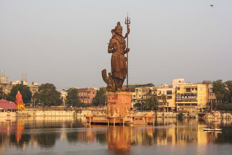 Lord siva, sursagar, baroda, india. Morning view of Lord Siva statue at Sursagar Lake, Baroda, India stock photo