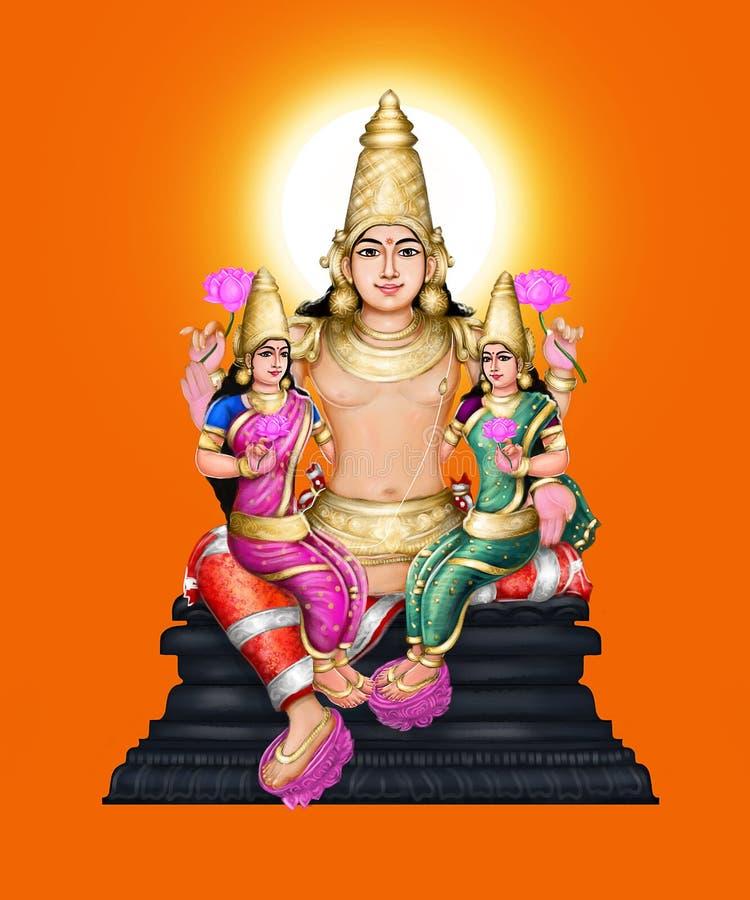 Lord Surya con sus esposas ilustración del vector