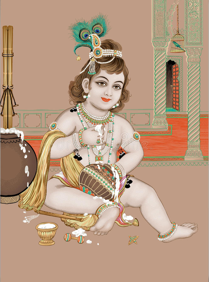 Lord Vishnu stock illustrationer