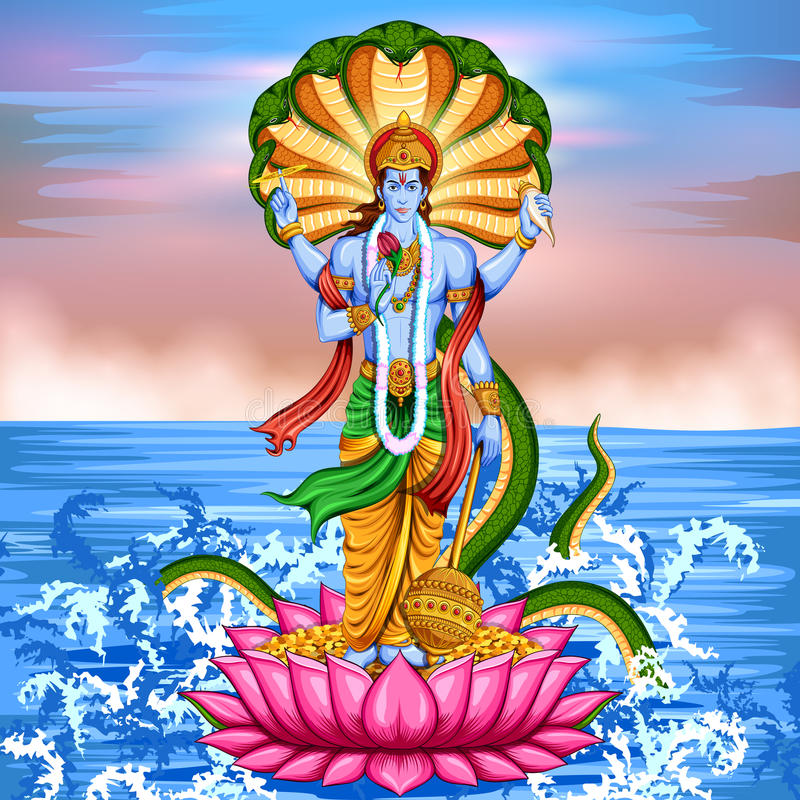 Lord Vishnu anseende på lotusblomma som ger välsignelse stock illustrationer