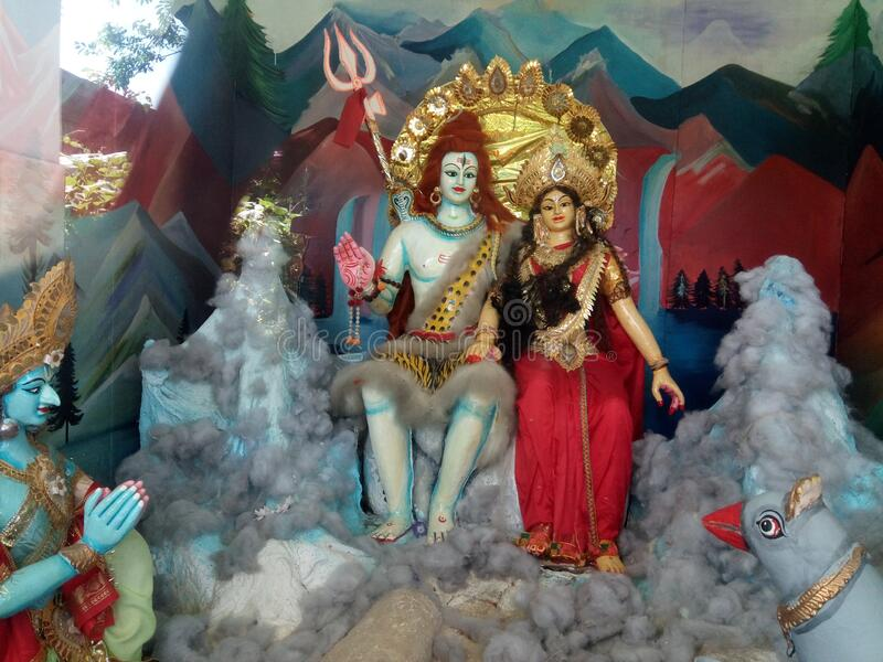 Lorde siba parabti no parbat do himalaya imagem de stock