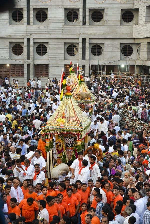 Lords Jagannaths börjar 137. Rath Yatra i Ahmedabad, Rath Yatra royaltyfria bilder