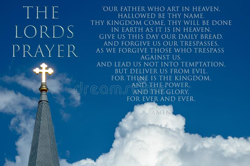 The Lords Prayer With Shining Gold Cross of Christ stock images