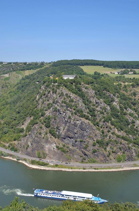 Loreley岩石,莱茵河,德国 库存照片