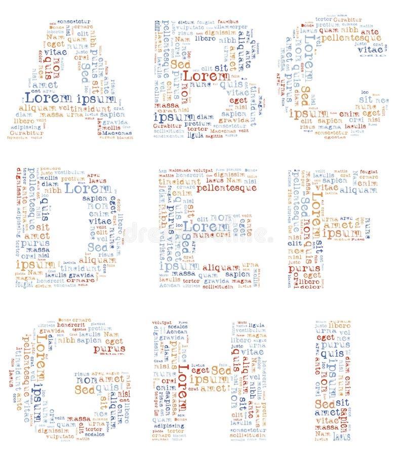 Lorem ipsum d'alphabet illustration stock
