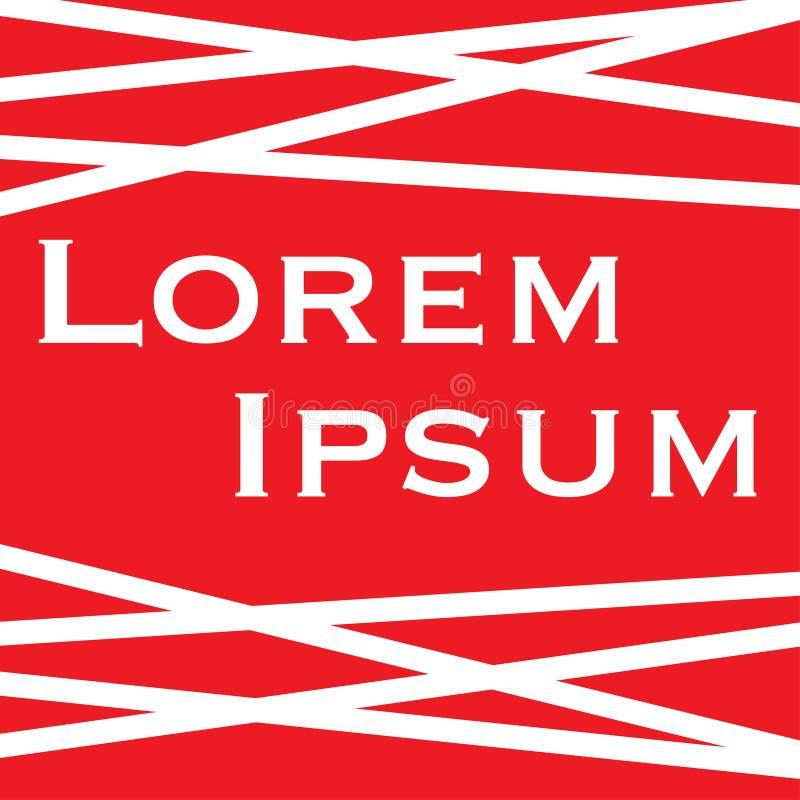Lorem ipsum med röd bakgrund för vita band vektor illustrationer