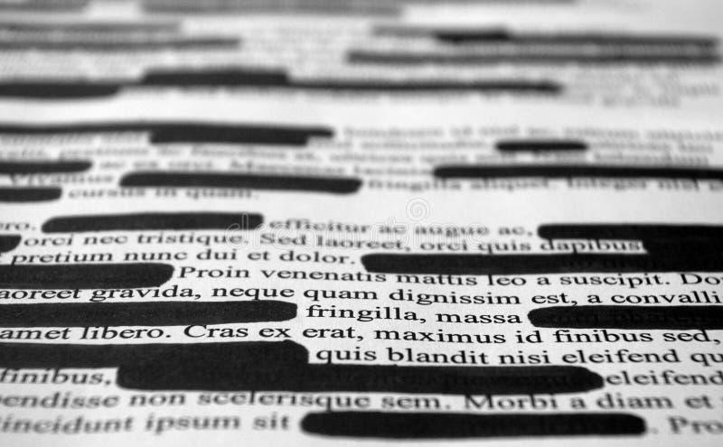 Lorem Ipsum tekst który redacted zdjęcia stock
