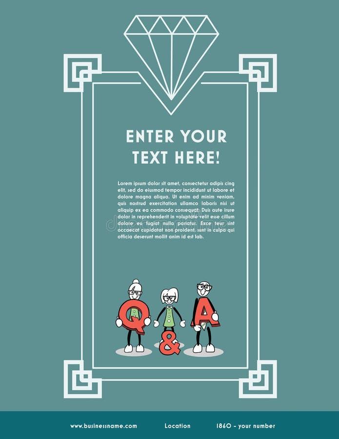 Lorem ipsum-Text mit Frage und Antworten-Konzept stock abbildung