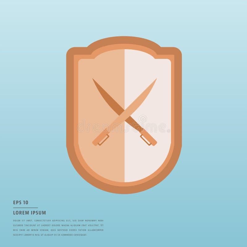 Lorem ipsumtext och sköld och svärd stock illustrationer
