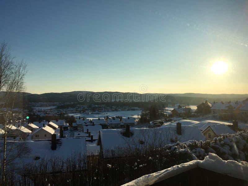 Lorenskog rasta挪威好冬天的雪 库存照片