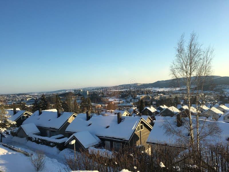 Lorenskog rasta挪威好冬天的雪 免版税库存图片