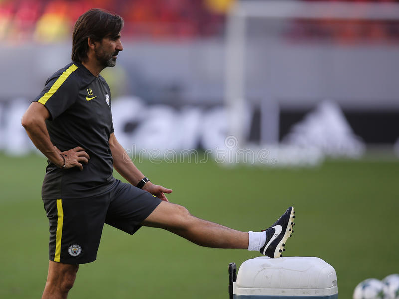 Lorenzo Buenaventura. Fitness coach of Manchester City, pictured during the official training before the Uefa Champions League match against Steaua Bucharest stock photography