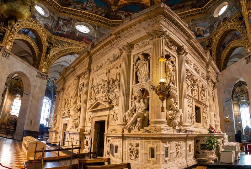 Loreto, Ancona, Italy - 11.10.2018: Interior of the Shrine of Loreto, Santuario della Madonna, detail of the Holy House. Of Our Lady, Italy stock image